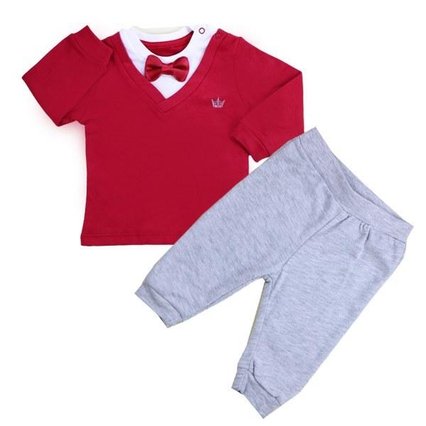 ست تی شرت و شلوار پسرانه My mio ترک رنگ قرمز