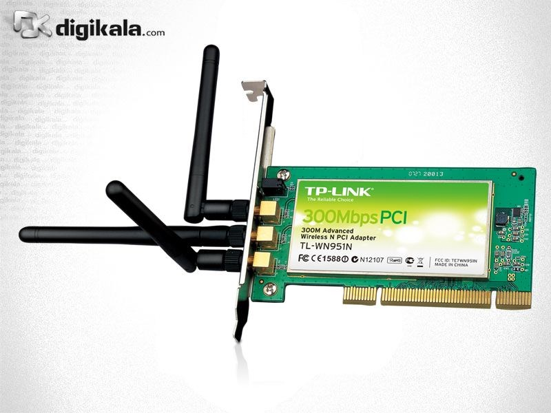img کارت شبکه بیسیم تی-پی لینک مدل TL-WN951N_V1 TP-LINK TL-WN951N_V1 300Mbps Wireless N PCI Adapter