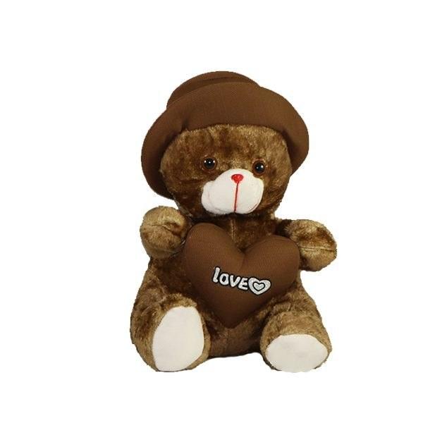 عروسک پولیشی خرس کلاه و قلبی قهوه ای