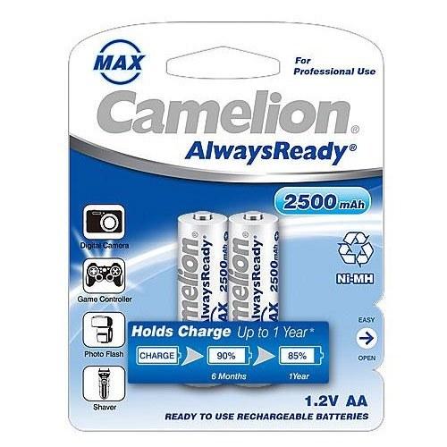 تصویر باتری قلمی شارژی کملیون Camelion AA 2500 2pcs Battery