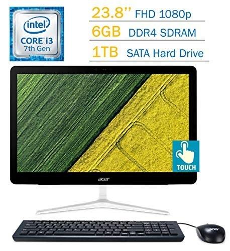 تصویر صفحه کلید لمسی صفحه نمایش عریض صفحه نمایش LED ، صفحه نمایش لمسی Acer Aspire Z24 All-One-One 23.8 '(1920x1080) ، Intel Core i3-7100T 3.4GHz 6 GB DDR4 RAM 1TB HDD DVD-Writer