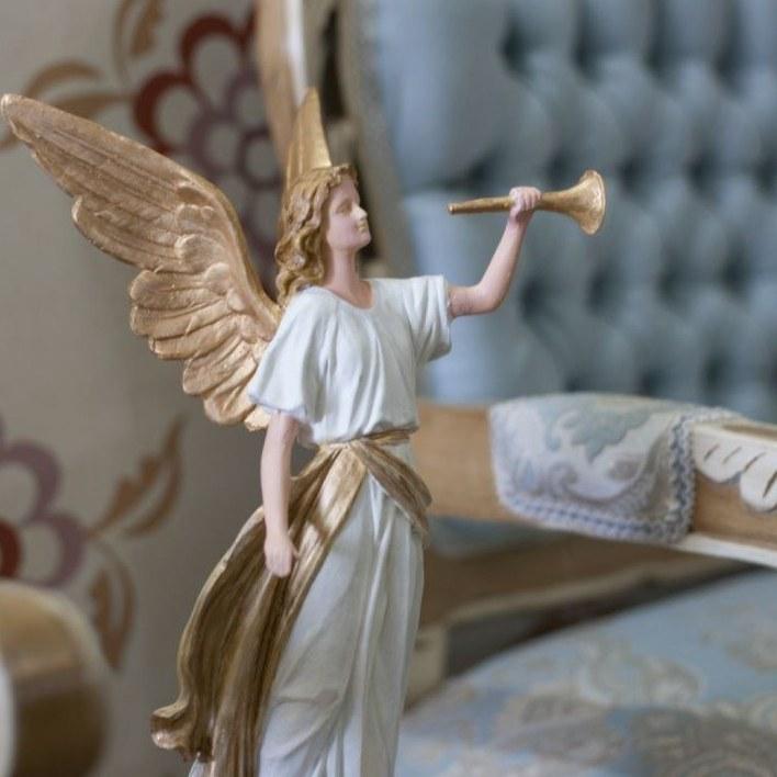 مجسمه فرشته بزرگ شیپور دار سفید و طلایی - کد 8756