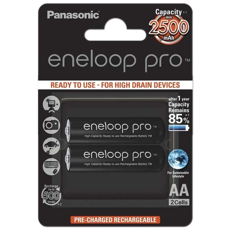 تصویر باتری ۲ تایی قلمی شارژی Panasonic Eneloop BK-3HCDE Panasonic Eneloop BK-3HCDE Rechargaeble AA 1.2V Battery