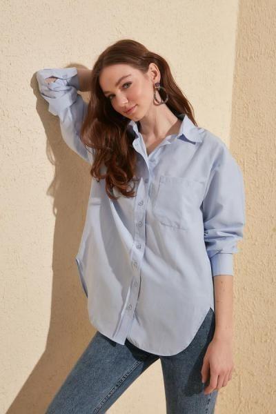 تصویر شومیز زنانه تابستانی برند TRENDYOLMİLLA رنگ آبی کد ty7067788