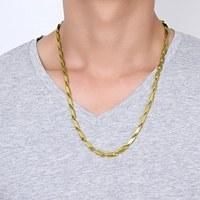 تصویر زنجیر(گردنبند) استیل رنگ ثابت ورساچه کبریتی طلایی