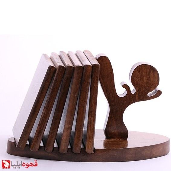 تصویر زیر لیوانی دست ساز چوبی بسته 6 عددی کد 03