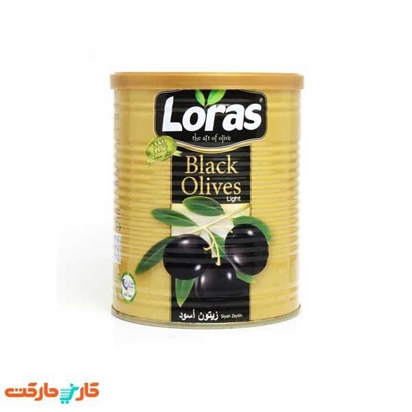 تصویر زیتون سیاه لوراس قوطی 400 گرمی loras