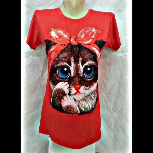 تیشرت زنانه زیبا با چاپ گربه (آستین 15 سانتی)