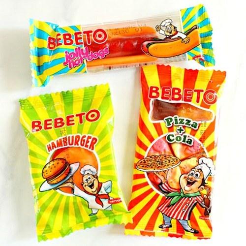 پاستیل ببتو طرح فست فود | BEBETO Fast Food Gummy Candy Variety Pack - Hamburger, Hot Dog and Pizza-Cola Shaped Candies