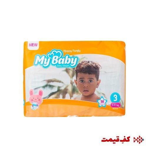 main images پوشک سری خانواده شاد سایز 3 مای بیبی - بسته 38 عددی My Baby Happy Family Baby Diaper - Size 3 Pack of 38