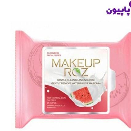 تصویر دستمال مرطوب آرایش پاک کن میکاپ رز هندوانه ۲۵ عددی || فروش تک و عمده