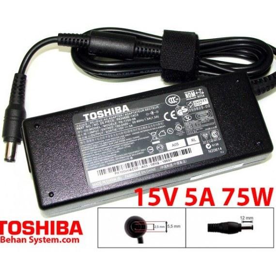 تصویر شارژر لپ تاپ توشیبا 75 وات 15V 5A فیش 5.5x2.5 میلی متر Toshiba Laptop Charger 15V 5A 75W