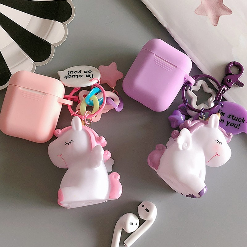 کاور سیلیکونی ایرپاد همراه با آویز یونیکورن Unicorn Case For AirPods  