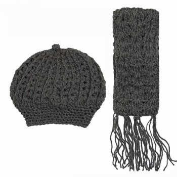 ست شال و کلاه بافتنی زنانه کد sh029