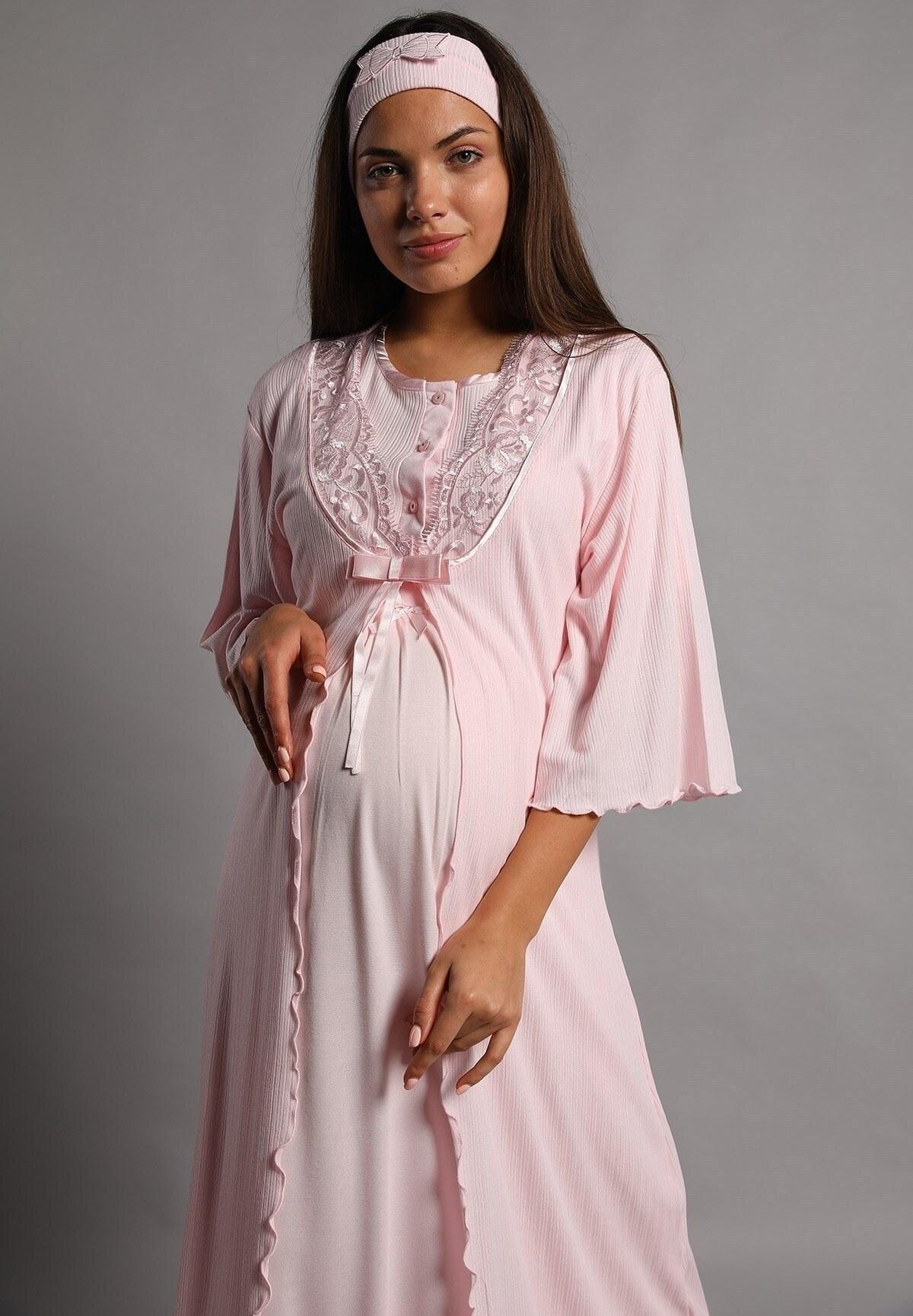 تصویر ست لباس شب زنانه نورا پودر بلند و گشاد برند Lohusa Sepeti کد 1617067912