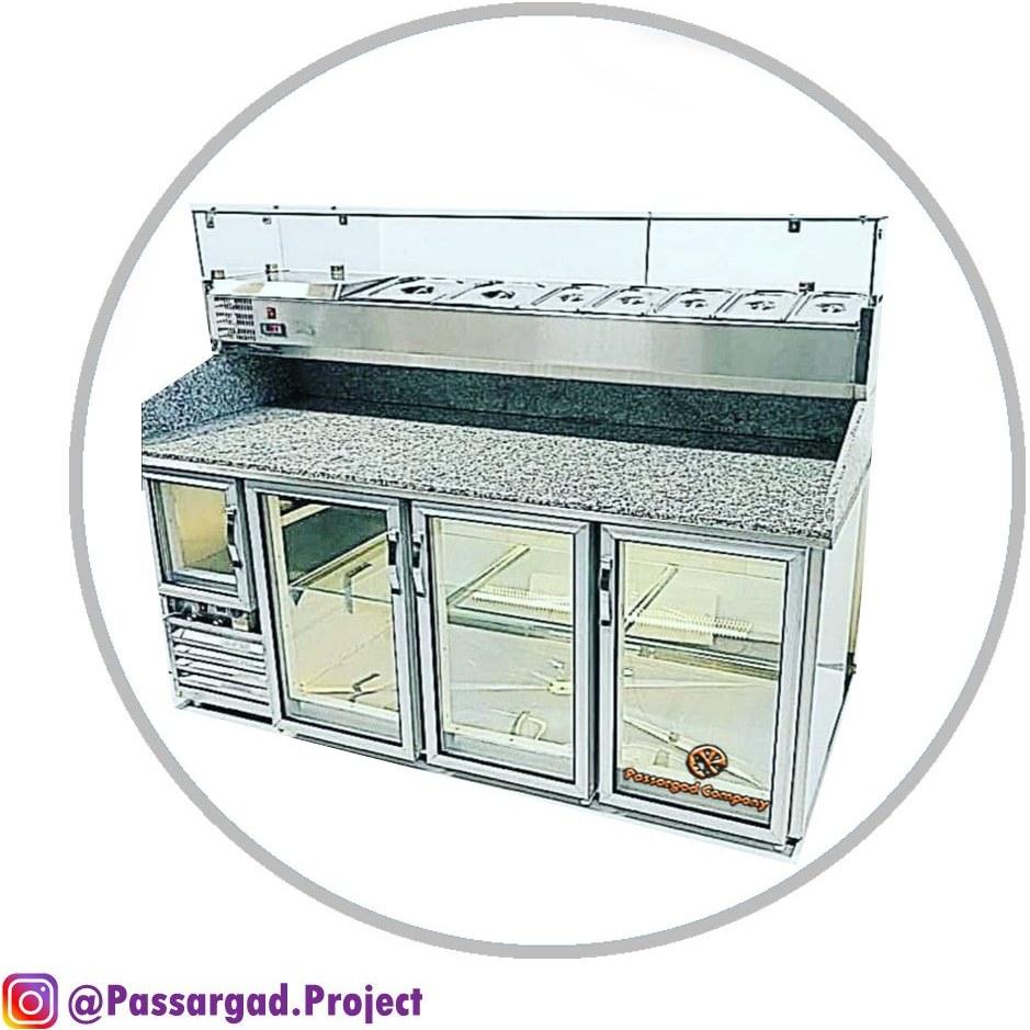 تصویر یخچال تاپینگ پیتزا ایتالیایی با رویه سنگ 150 سانت