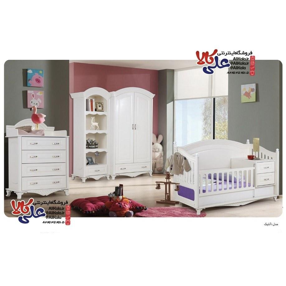 تصویر سرویس خواب،تخت و کمد نوزاد نوجوان مدل آنتیک به همراه تشک