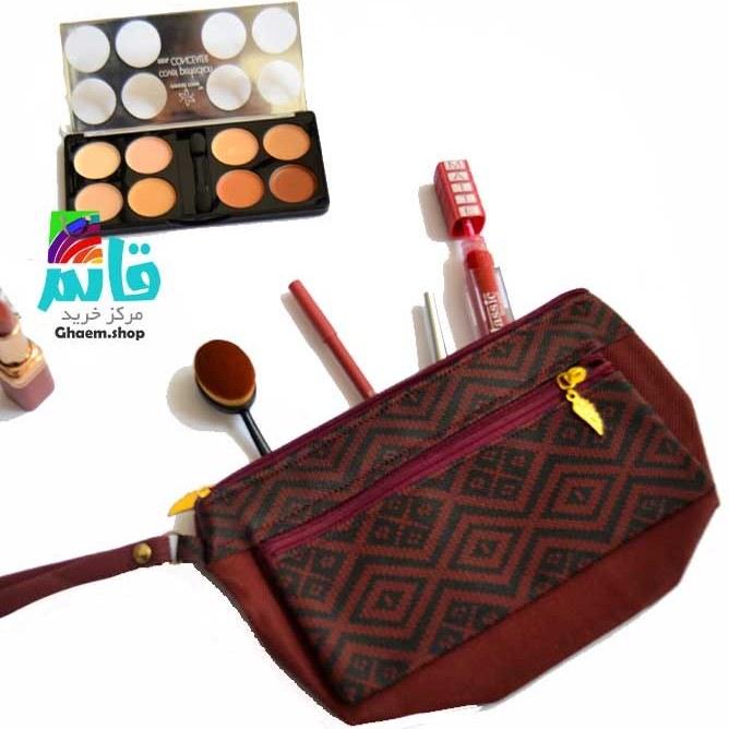 کیف آرایشی برنزتی طرحدار دو رنگ