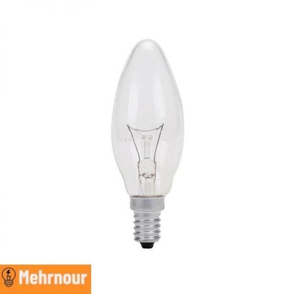 تصویر لامپ رشته ای ۶۰ وات مدل شمعی پایه E14