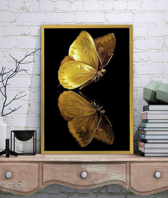 تصویر تابلو دکوراتیو پروانه طلایی کد 219.1