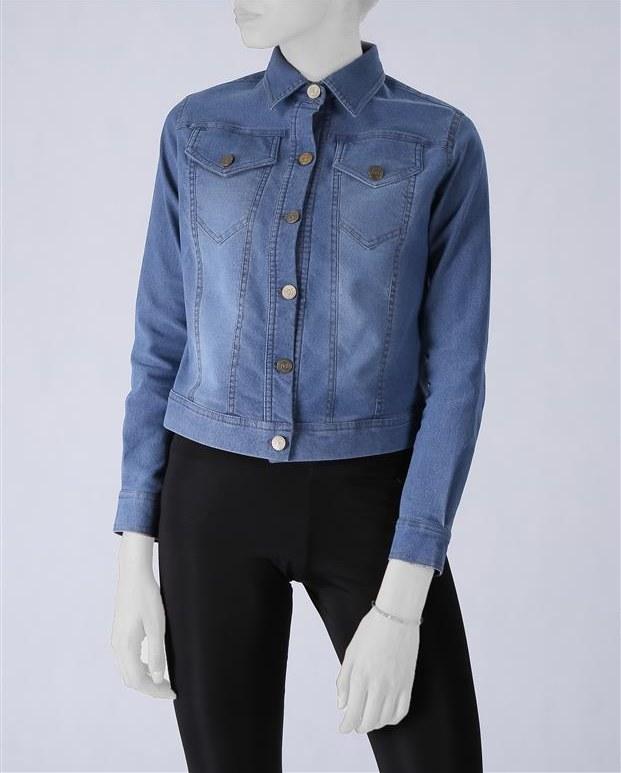 کت زنانه کوتاه جین کشی آبی هما مدا