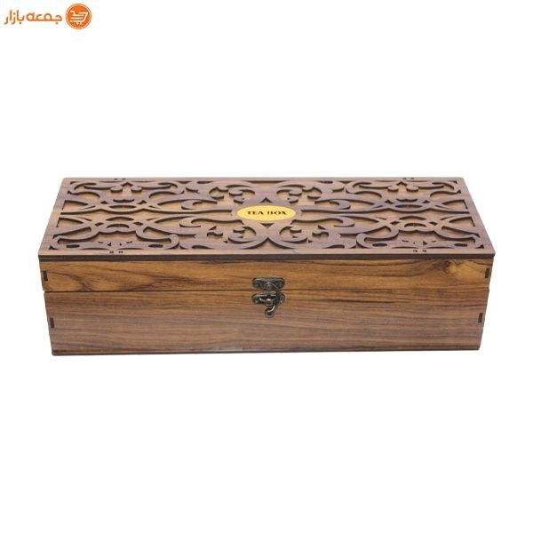 تصویر جعبه تی بگ چوبی 5 خانه