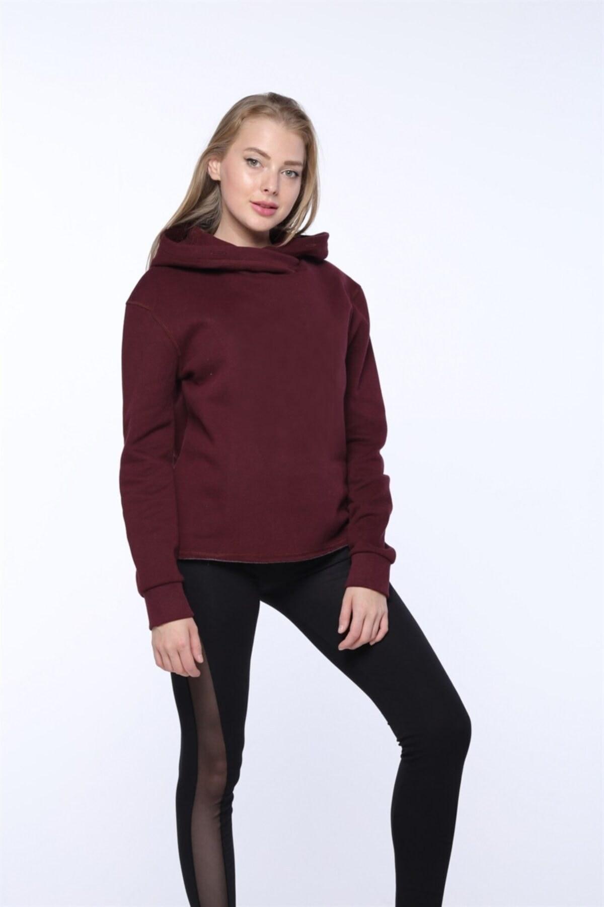 تصویر سویشرت زنانه شیک جدید برند Mlike Fashion رنگ زرشکی ty78318867
