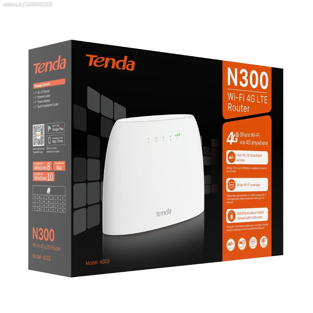 تصویر مودم روتر سیم کارت خور LTE وایرلس N300 تندا مدل Tenda 4G03