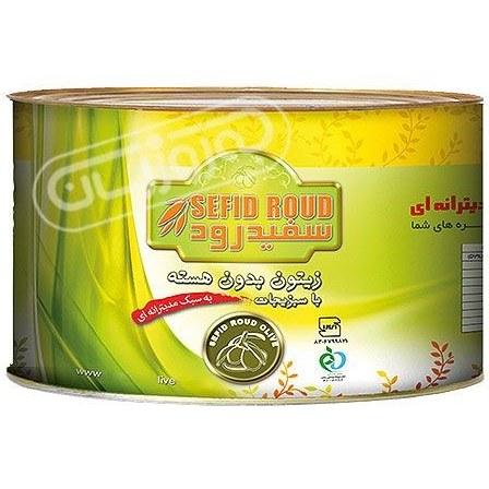 تصویر زیتون بدون هسته با سبزیجات مدیترانه ای سفید رود 2000 گرمی