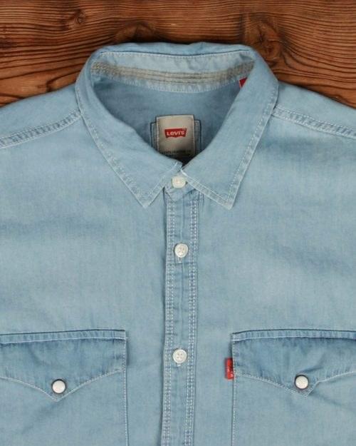 تصویر پیراهن جین روشن مردانه آستین کوتاه- سایز مدیوم