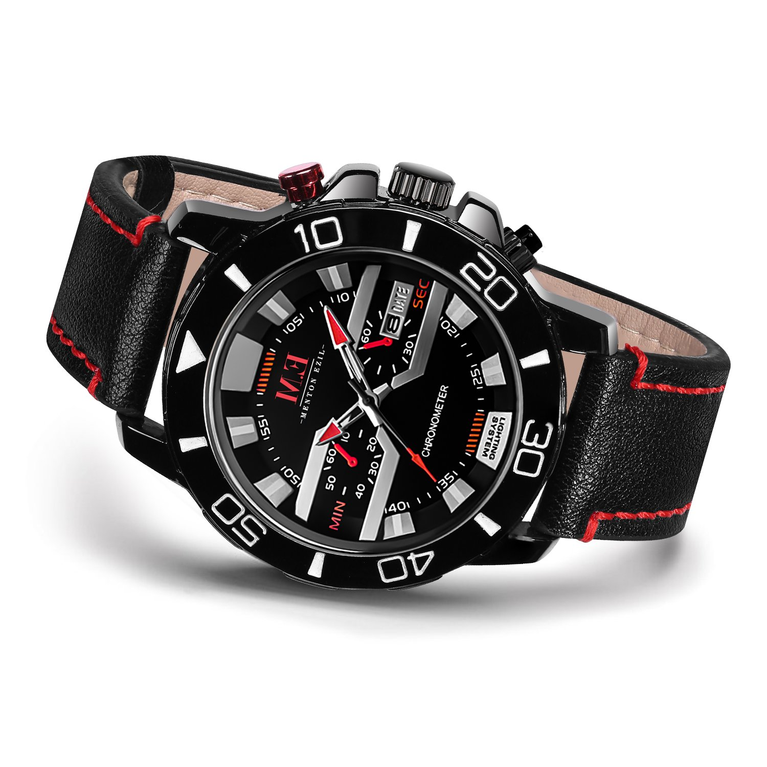 366a2c933 Valentines Day Gift for Him Menton Ezil Men's Sport Leather Strap Analog  Quartz Waterproof Watches Auto Calendar Wrist Watch for Teen Boys  (Black Red)