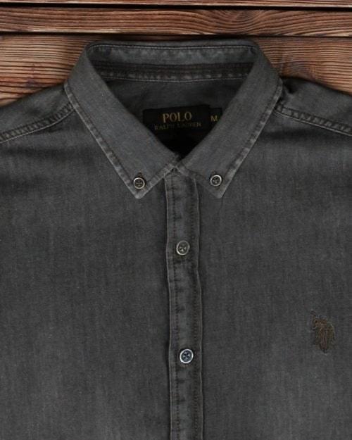 پیراهن جین خاکستری آستین کوتاه مردانه |