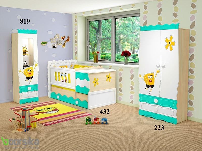 سرویس خواب تک نفره دو منظوره نوزاد باب اسفنجی تراشه Tarasheh 432 Baby Bed