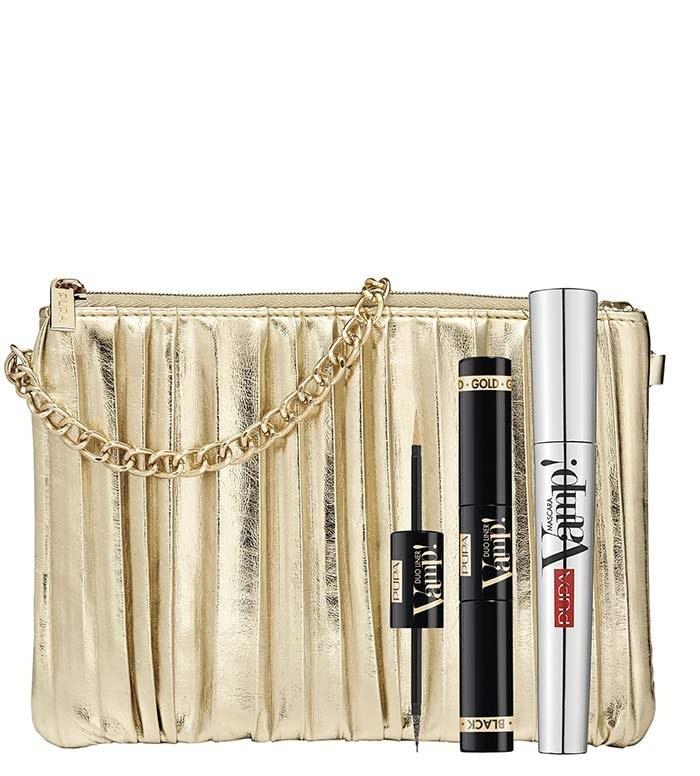 ست کیف لوازم آرایش طلایی زنجیر دار و خط چشم و ریملپوپا | PUPA VAMP MASCARA VAMP DUO LINER