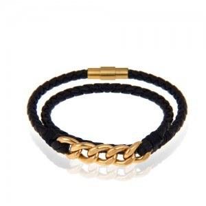 دستبند چرم دولایه با زنجیر کارتیه   دستبند چرم و طلا مردانه طرح کارتیه کد mb114