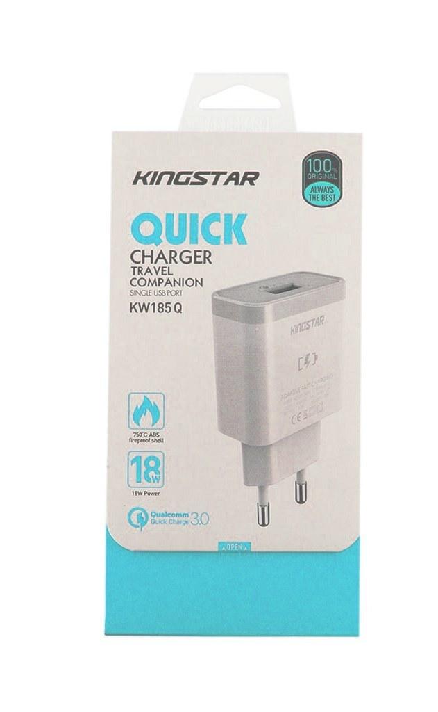 تصویر شارژر دیواری فست شارژ Kingstar KW185Q QC3.0 (گارانتی ۱۲ ماهه) ا Kingstar KW185Q QC3.0 wall quick charger + Type-C cable Kingstar KW185Q QC3.0 wall quick charger + Type-C cable