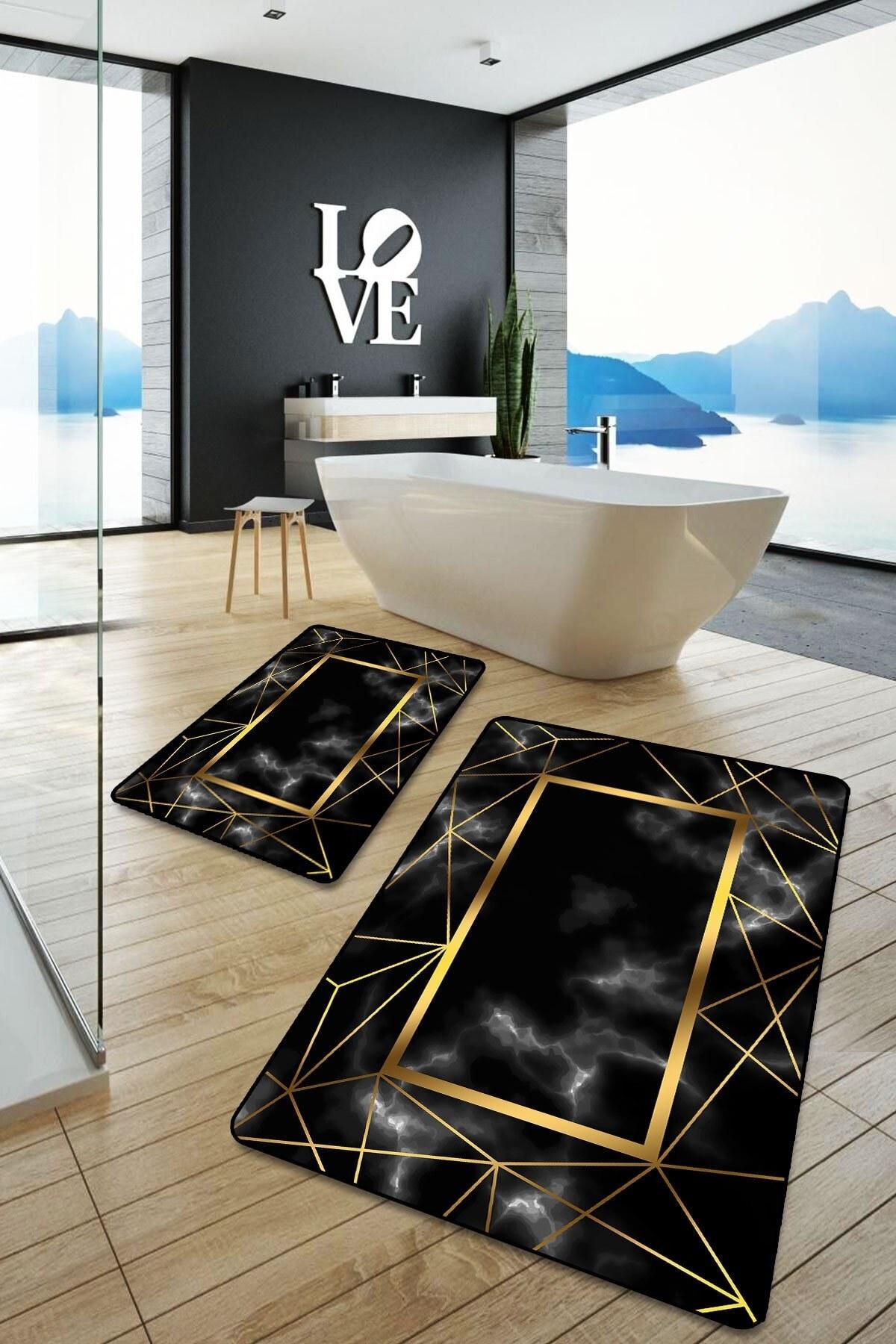 تصویر زیرپایی فرش حمام قابل شستشو مدرن راهراه طلایی مشکی برند evimisa کد 1617165311