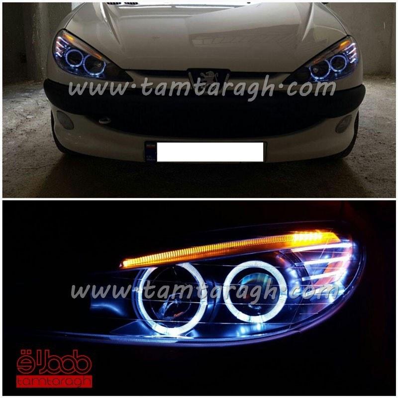 چراغ اسپرت جلو (بلوری) پژو 206 طرح BMW نئون ال ای دی