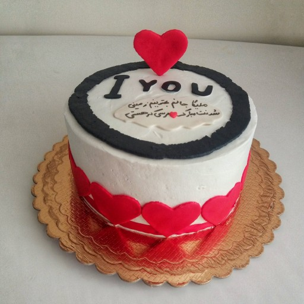 کیک تولد طرح قلب تزیین فوندانت |