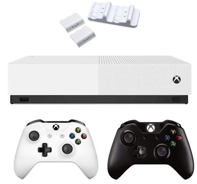 کنسول بازی مایکروسافت مدل Xbox One S ALL DIGITAL ظرفیت ۱ ترابایت به همراه دسته اضافه مشکی و داک شارژ | Microsoft Xbox One S ALL DIGITAL 1TB Bundle 2Gamepad Black With Dual Charging Dock