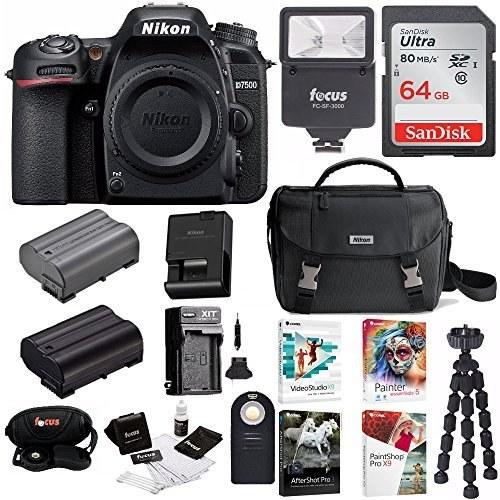 Nikon D7500 DSLR Camera Body + Nikon Bag + 64GB Memory Card + Flash + Battery and Charger + Software Suite + Kit |