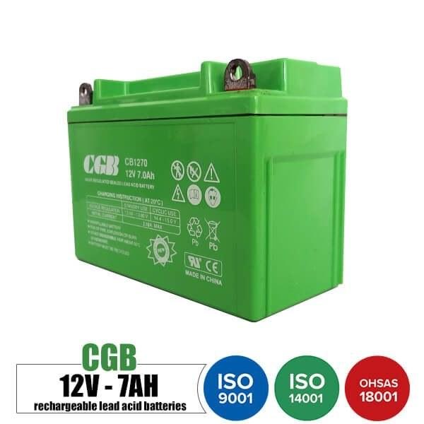 باتری قابل شارژ 12 ولت 7 آمپر موتوری CGB مدل CB1270 | Rechargeable battery 12 volt 7 Amps Motorcycle CGB model CB1270