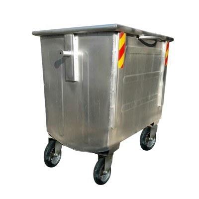 تصویر مخزن زباله 1100 قوس دار ورق 2 کد 480 مخزن زباله گالوانیزه ساخته شده از ورق ۲ میلیمتر دارای ضربه گیر در یک طرف مخزن و دارای جوش CO2