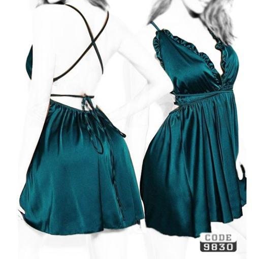 تصویر لباس خواب زنانه فانتزی پشت بندی ساتن کله غازی
