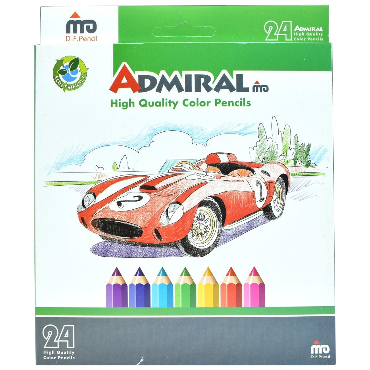 تصویر مداد رنگی 24 رنگ جعبه مقوایی ادمیرال