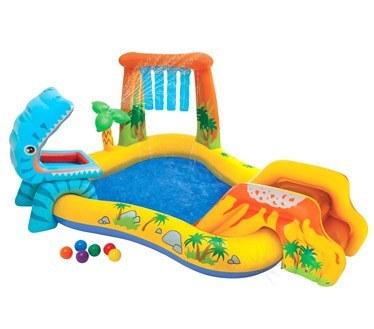 استخر بادی آبی با سرسره و اسباب بازی