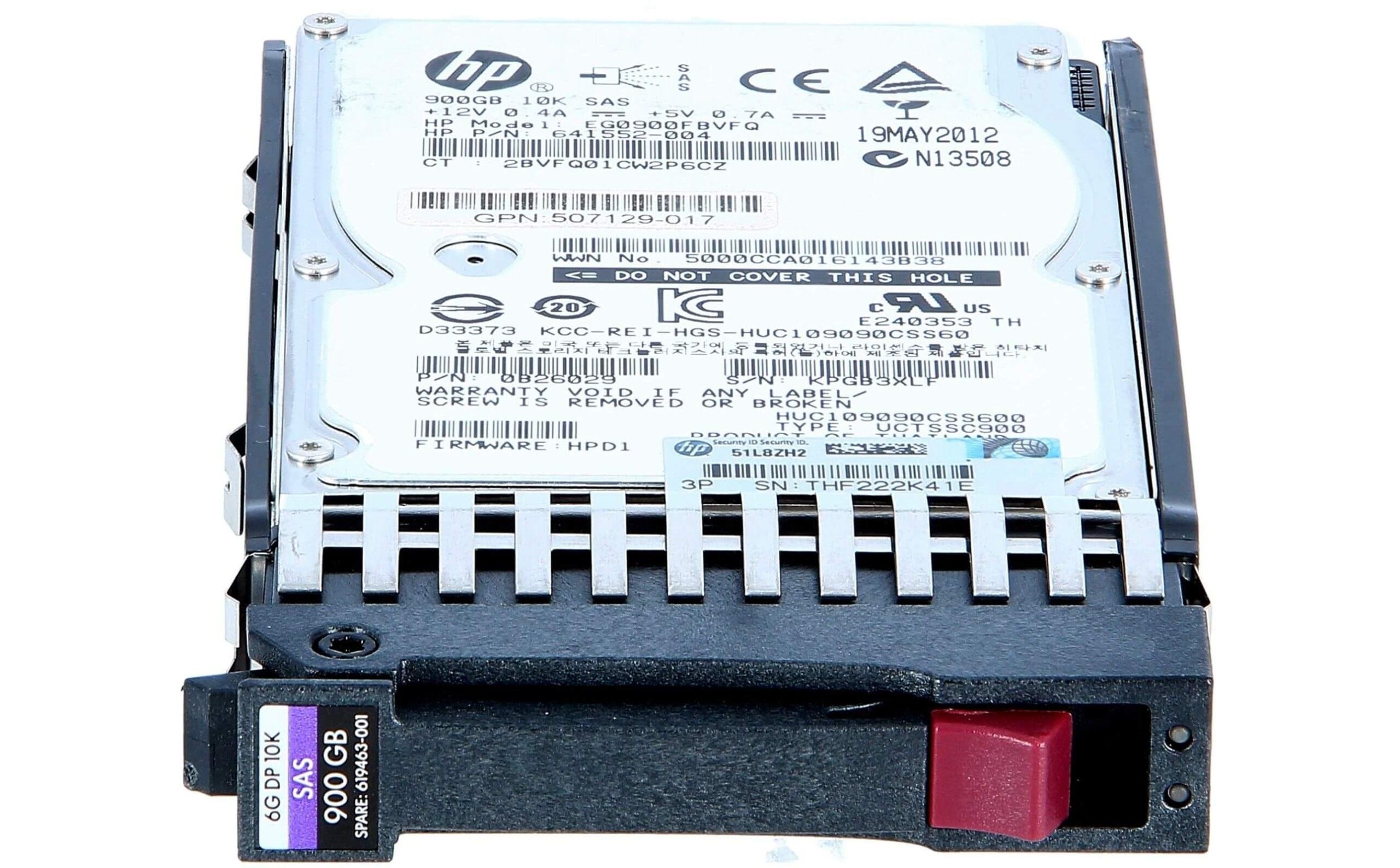 تصویر هارد سرور HP 900GB SAS 10K 6G SFF G7