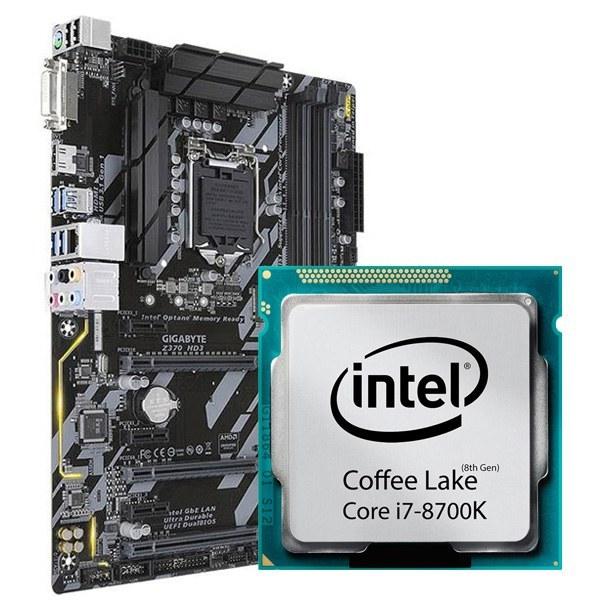مادربرد گیگابایت Z370 HD3 و پردازنده i7 8700K تری |