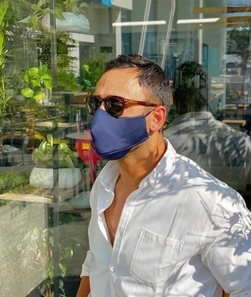 تصویر ماسک تنفسی پارچه ای پنج لایه طرح دار مردانه مدل سیب سل