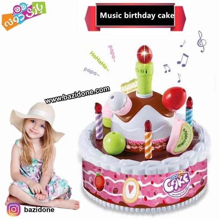 تصویر کیک تولد موزیکال با شمع سنسوری